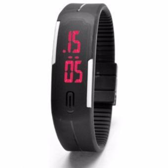 Đồng hồ LED nữ dây nhựa kiêm vòng tay (đen)