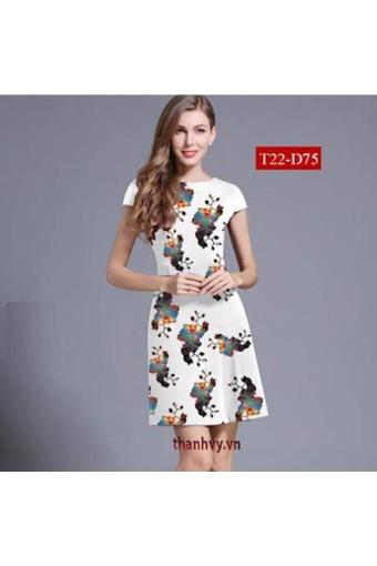 Đầm Hoa In 3d Dáng A Tùng Xếp Ly(Int:Xxl)
