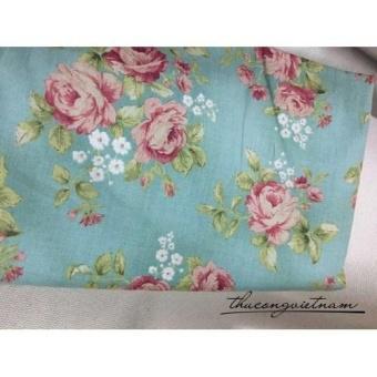 Vải thô hoa mẫu đơn hồng nền xanh biển