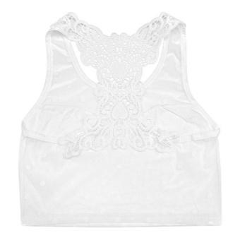 Áo bra lưới phối ren màu trắng