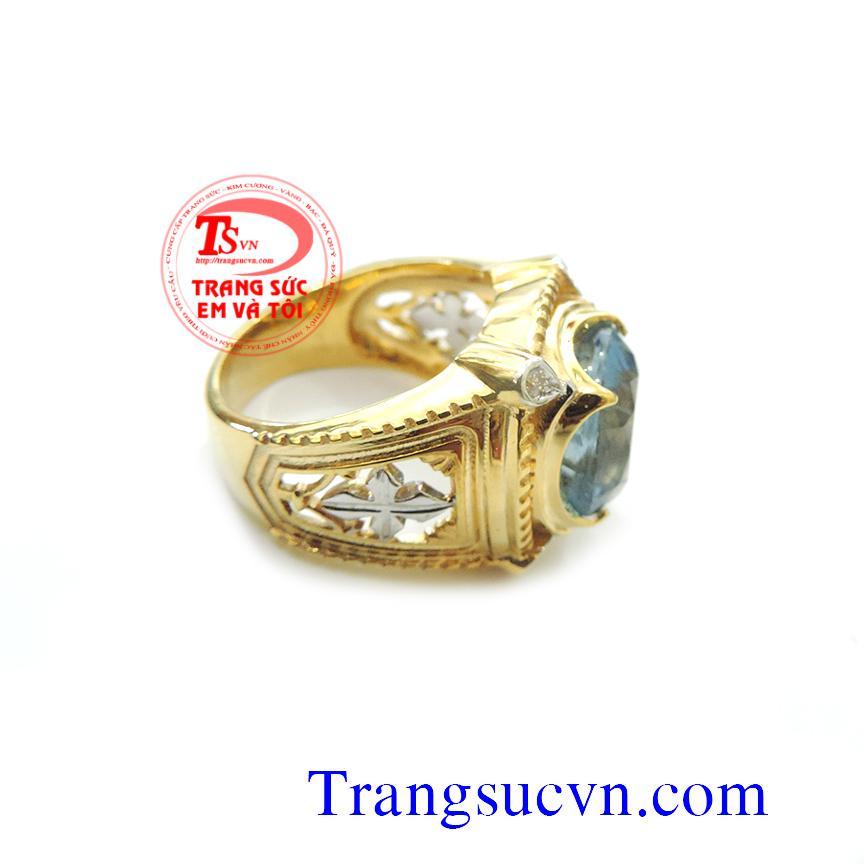 Nhẫn nam đá Aquamarine