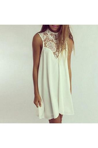 Womens Boho Sexy Sleeveless Lace Chiffon Dress Summer Club Party Mini Sundress - Intl