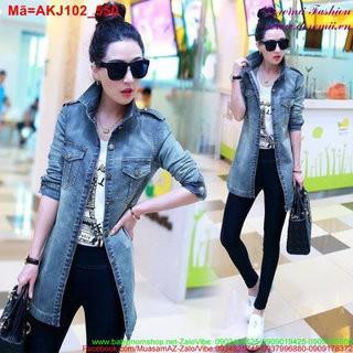 Áo khoác jean nữ phối túi form dài trẻ trung sành điệu AKJ102