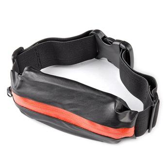 Cyber Synthetic Leather Elastic Band Hiking Sport Travel Belt Waist Pack Pouch Bag ( Black ) - Intl