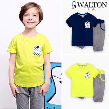 T-shirt tay ngắn túi chấm bi + Quần lửng suông trơn WALTON kids