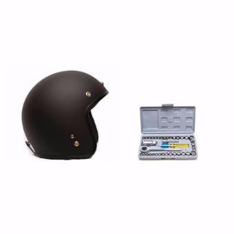 Mũ 3/4 tặng kèm 1 bộ dụng cụ sửa chữa oto xe máy 40 món + Tặng 1 dao du lịch hình thẻ ATM