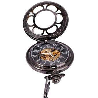 Retro Mechanical Hand Wind Pocket Watch Roman Numerals Display Hollow-out Petal Cover Necklace Wrist...