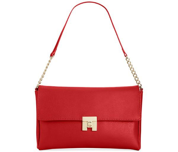 Tommy Hilfiger TH Turnlock Textured Leather Flap Shoulder Bag (Red)