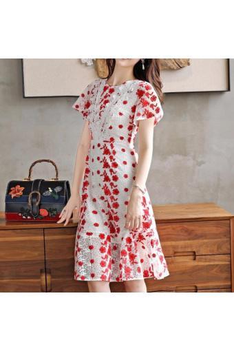 Đầm ôm xòe hoa xinh xắn-DOX019