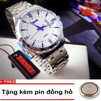 Đồng hồ Nam dây thép không gỉ SKMEI ( Mặt trắng )