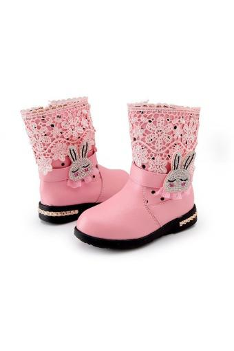 Winter Genuine Leather Princess Girls Kids Lace Rabbit Shoes Snow Boots - intl