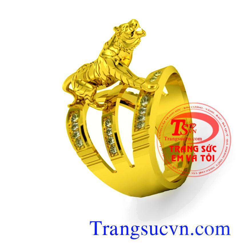 Nhẫn nam mãnh hổ tuổi Dần,Vàng 18k-Diamond