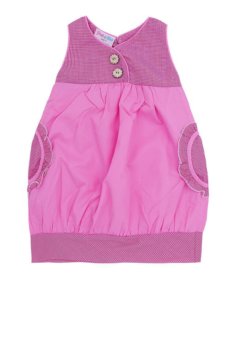 Đầm Kaki bí phối caro Pink & Blue