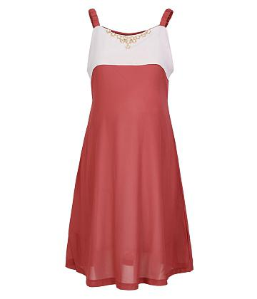 Đầm bầu 2 dây phối phụ kiện thời trang - Cam
