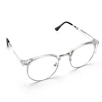 Retro Style Women Men Nerd Glasses Clear Lens Eyewear Round Metal Frame Glasses - intl