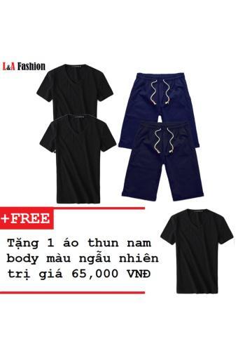Combo 2 quần shorts nam lưng thun và 2 áo thun nam trơn tặng kèm áo thun ( Quần Đen , Xanh Đen . Áo ...