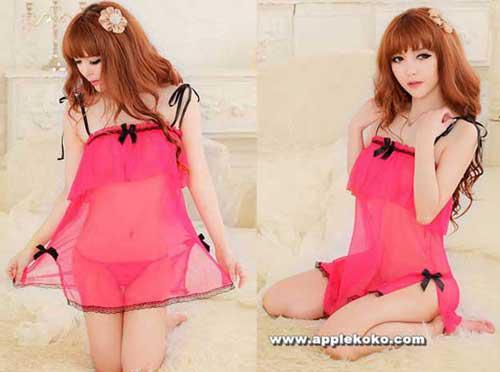 Đầm Ngủ Pink Đính Nơ Đen