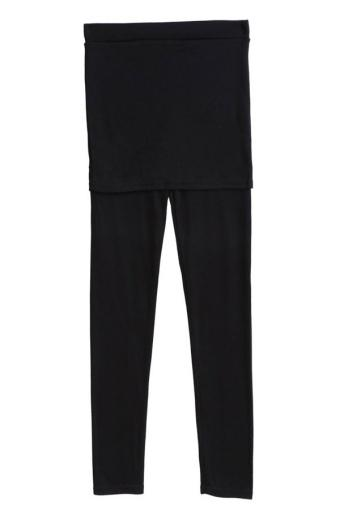 Sunweb Korea Women's Footless Cotton Pleated Tights Stretch Skirt Leggings Black - Intl