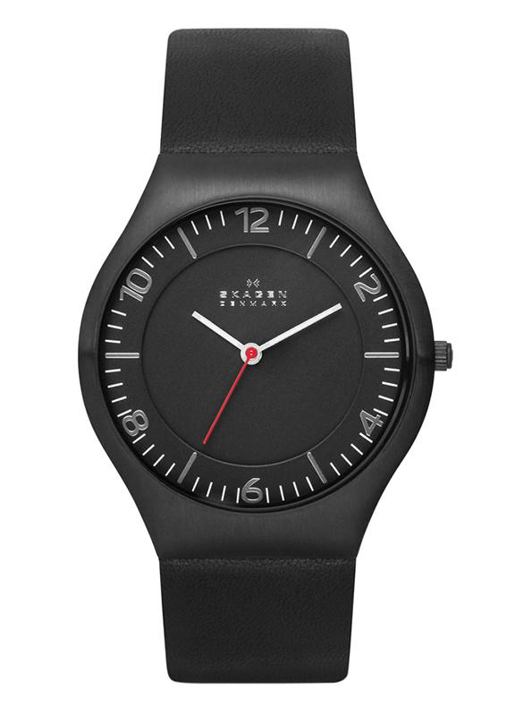 SKAGEN GRENEN BLACK DIAL BLACK LEATHER MEN WATCH SKW6113