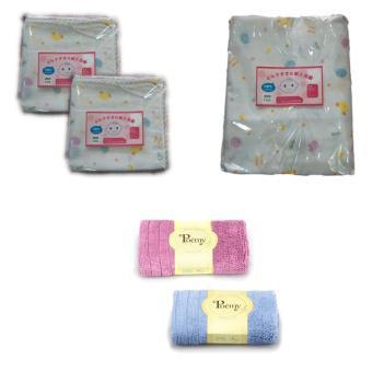 Bộ 2 túi khăn sữa 2 lớp 32 x 32cm + 1 khăn 2 lớp Shopconcuame 80 x 80cm + 1 hộp nước muối sinh lý hộ...