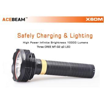 Đèn pin sạc ACEBEAM X60M độ sáng 10000 lumen chiếu xa 525m 3 bóng LED CREE MT-G2 dùng 6 pin 18650 dò...
