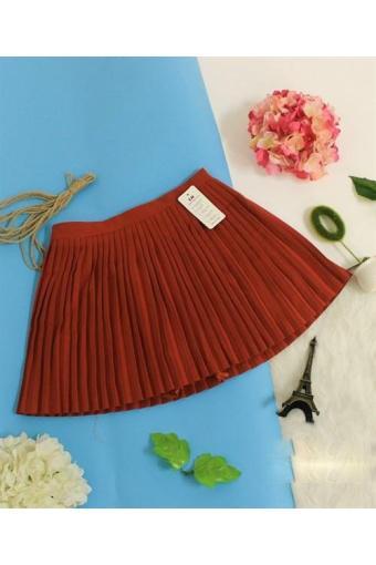 Chân váy ngắn Dập ly màu nâu Đỏ-B6882