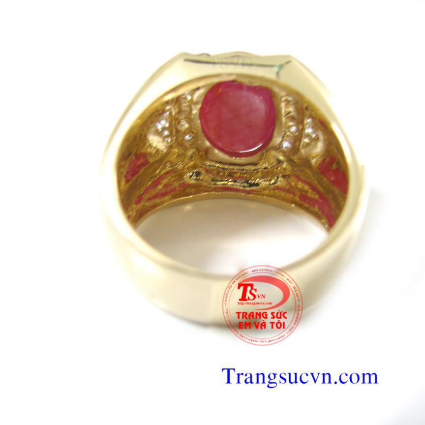 Nhẫn nam vàng gắn ruby thiên nhiên