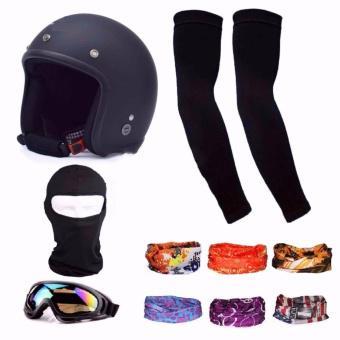 Bộ Nón bảo hiểm 3/4 đầu (Đen) và Mũ ninja + Bao tay chống nắng + Kính phượt + Tặng 2 khăn phượt đa n...