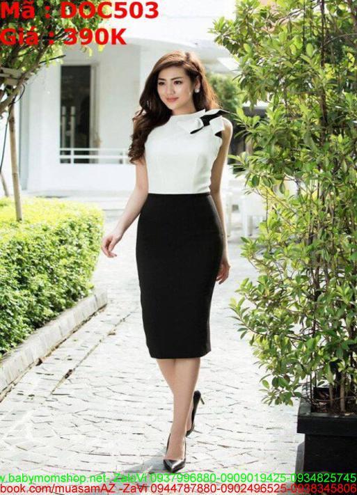 Đầm ôm cổ trụ phối 2 màu trắng đen sành điệu thắt nơ DOC503