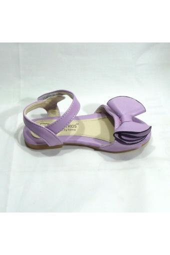 Sandal bé gái nơ tím to kiểu cách
