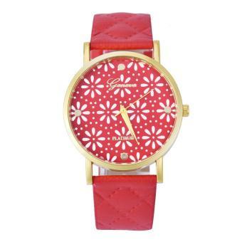 Women Casual Roman Leather Band Analog Quartz Wrist Watch Red