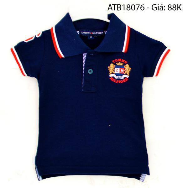 Áo polo Tommy xanh đen dể thương cho bé 1 - 7 tuổi ATB18076