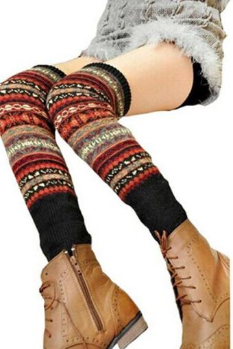 LALANG Women Fashion Knee High Socks Winter Bohemian Knit Leg Warmer Black - intl