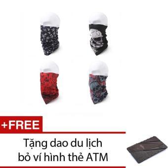 Bộ 4 khăn đa năng đi phượt + Tặng 1 dao du lịch bỏ ví hình thẻ ATM (Xám)