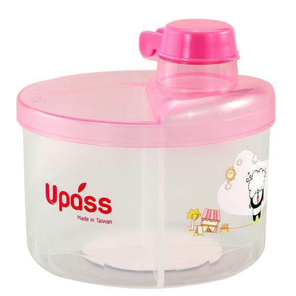 Hộp chia sữa tròn 4 ngăn không BPA màu hồng Upass UP8005CH