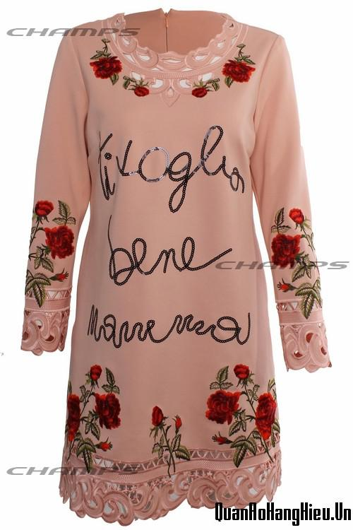 Đầm hồng D&G cổ hạt 12864