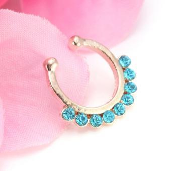 Fake Septum Clicker Non Piercing Nose Clip on Hanger Cheater Body Ring gem NEW - intl