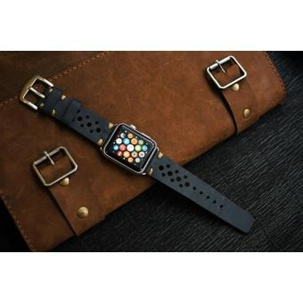 Dây đồng hồ da thật Handmade cho Apple Watch/ Watch Sport ( 38mm và 42mm ) – Mẫu DC24_da vàng_chỉ và...