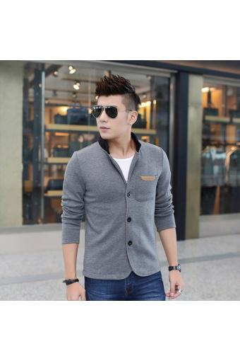 Men 's Jacket Slim Collar Coat Overcoat (Dark grey) (Intl)