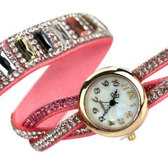 Women Rhinestone Bracelet Electronic Quartz Watch (Pink) - intl