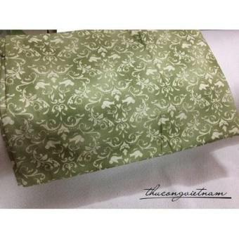 Vải thô hoa văn nền xanh rêu