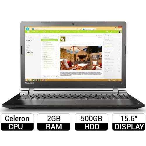 Laptop Lenovo Ideapad 100-15IBY 80MJ0032VN Thiết kế mỏng nhẹ, màu Đen