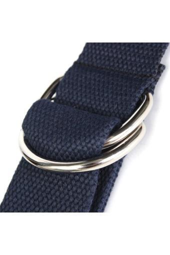 Unisex Buckle Waist Belt Mens Boys Plain Webbing Waistband Casual Canvas Belt Dark Blue - Intl