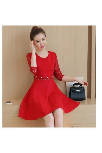 Đầm Dự Tiệc Tay Ren Phối Ngọc Trai THOITRANGTICHTAC - B3578 (Đỏ)