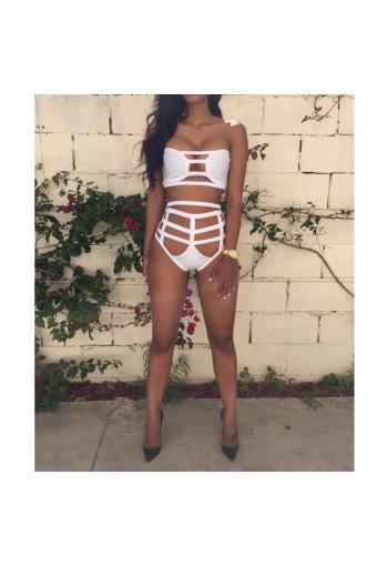 Women Bandeau High Waist Bandage Bikini Set Swimwear Swimsuit White (Intl)
