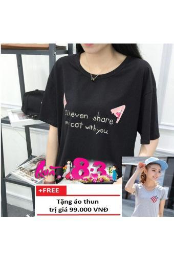 Áo Thun Nữ Tai Mèo D160 + Tặng Áo Thun Nữ Cổ Tim Con Ong D23 Trần Doanh