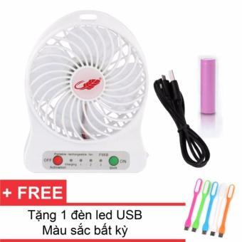 Quạt tích điện mini Siêu mát + Tặng kèm đèn Led