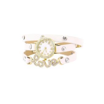 Bluelans Love CZ Dial Wrap Around Leather Bracelet Watch (White) (Intl)