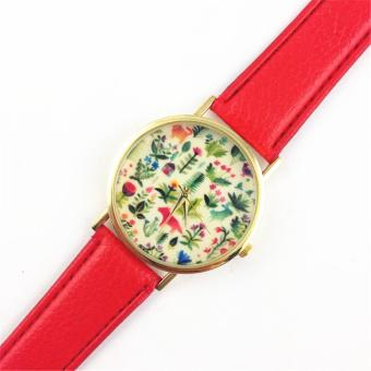 Animal Design Leather Floral Printed Analog Quartz Wrist Watch Red (Intl)