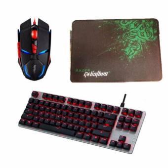 Combo Bàn phím cơ Fuhlen G87 RGB Mechanical Cherry Red Switch (Bạc - Keycap đen) + Chuột Games có dâ...